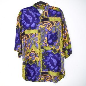 Vintage 90s Colorful Floral Rayon Button Down